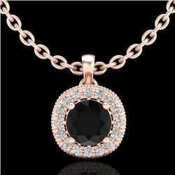 1.1 CTW Fancy Black Diamond Solitaire Art Deco Stud Necklace 18K Rose Gold - REF-79X3T - 37997