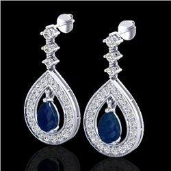 2.25 CTW Sapphire & Micro Pave VS/SI Diamond Earrings Designer 14K White Gold - REF-105H5A - 23155