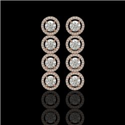5.36 CTW Diamond Designer Earrings 18K Rose Gold - REF-842A2X - 42585