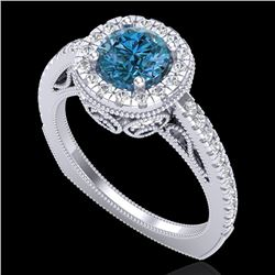 1.55 CTW Fancy Intense Blue Diamond Solitaire Art Deco Ring 18K White Gold - REF-178F2N - 37985
