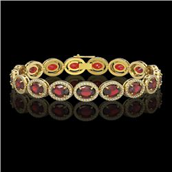 21.98 CTW Garnet & Diamond Halo Bracelet 10K Yellow Gold - REF-247N6Y - 40648