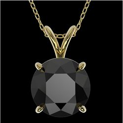 2 CTW Fancy Black VS Diamond Solitaire Necklace 10K Yellow Gold - REF-43A2X - 33235