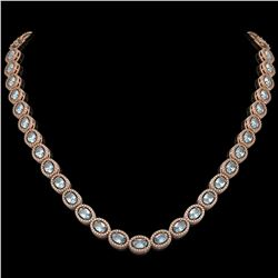 24.65 CTW Aquamarine & Diamond Halo Necklace 10K Rose Gold - REF-572Y8K - 40425