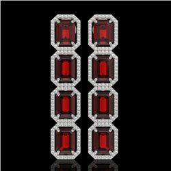 17.8 CTW Garnet & Diamond Halo Earrings 10K White Gold - REF-174T2M - 41615