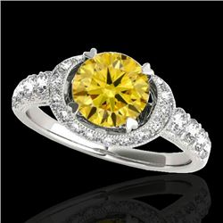 1.75 CTW Certified Si/I Fancy Intense Yellow Diamond Solitaire Halo Ring 10K White Gold - REF-180F2N