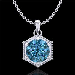 0.82 CTW Fancy Intense Blue Diamond Solitaire Art Deco Necklace 18K White Gold - REF-114T5M - 38048