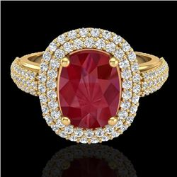 3.50 CTW Ruby & Micro Pave VS/SI Diamond Halo Ring 18K Yellow Gold - REF-143Y6K - 20722