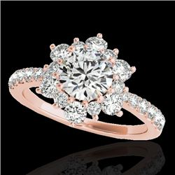 2 CTW H-SI/I Certified Diamond Solitaire Halo Ring 10K Rose Gold - REF-200F2N - 33707