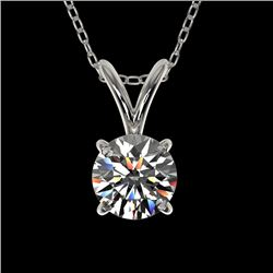 0.53 CTW Certified H-SI/I Quality Diamond Solitaire Necklace 10K White Gold - REF-51M2H - 36720