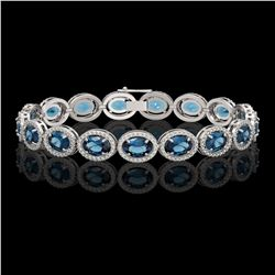 24.32 CTW London Topaz & Diamond Halo Bracelet 10K White Gold - REF-256A8X - 40637