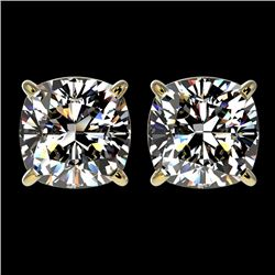 2.50 CTW Certified VS/SI Quality Cushion Cut Diamond Stud Earrings 10K Yellow Gold - REF-840X2T - 33