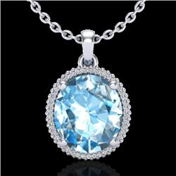 12 CTW Sky Blue Topaz & Micro VS/SI Diamond Halo Necklace 18K White Gold - REF-77N3Y - 20604