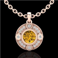 1.01 CTW Intense Fancy Yellow Diamond Art Deco Stud Necklace 18K Rose Gold - REF-136T4M - 37708