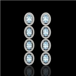 4.68 CTW Aquamarine & Diamond Halo Earrings 10K White Gold - REF-115K6W - 40526