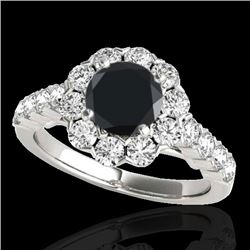 3 CTW Certified VS Black Diamond Solitaire Halo Ring 10K White Gold - REF-138H2A - 33556