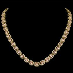 31.96 CTW Morganite & Diamond Halo Necklace 10K Yellow Gold - REF-604W2F - 40414