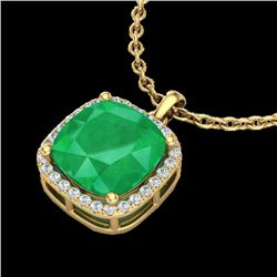6 CTW Emerald & Micro Pave Halo VS/SI Diamond Necklace Solitaire 18K Yellow Gold - REF-85M5H - 23080
