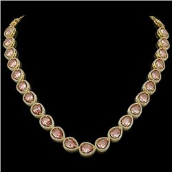41.6 CTW Morganite & Diamond Halo Necklace 10K Yellow Gold - REF-1024H4A - 41200