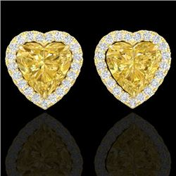 2 CTW Citrine & Micro Pave VS/SI Diamond Earrings Heart Halo 14K Yellow Gold - REF-42F4N - 21203