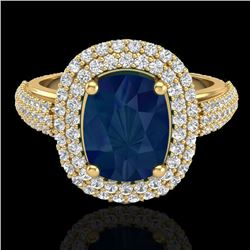 3.50 CTW Sapphire & Micro Pave VS/SI Diamond Halo Ring 18K Yellow Gold - REF-143F6N - 20724