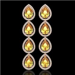 9.2 CTW Fancy Citrine & Diamond Halo Earrings 10K Rose Gold - REF-154W2F - 41325