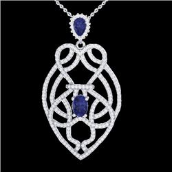 3.50 CTW Tanzanite & Micro VS/SI Diamond Heart Necklace Solitaire 14K White Gold - REF-191W3F - 2125