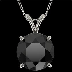 2.50 CTW Fancy Black VS Diamond Solitaire Necklace 10K White Gold - REF-55A5X - 33243