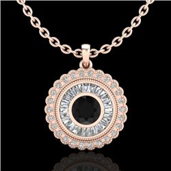 2.11 CTW Fancy Black Diamond Solitaire Art Deco Stud Necklace 18K Rose Gold - REF-180K2W - 37913
