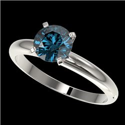 1.25 CTW Certified Intense Blue SI Diamond Solitaire Engagement Ring 10K White Gold - REF-179T3M - 3