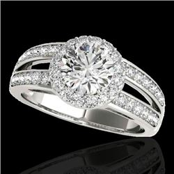 1.6 CTW H-SI/I Certified Diamond Solitaire Halo Ring 10K White Gold - REF-180K2W - 34247