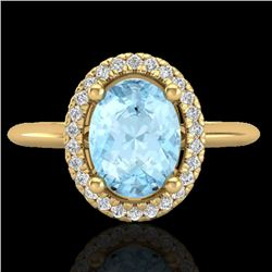 1.50 CTW Aquamarine & Micro VS/SI Diamond Ring Solitaire Halo 18K Yellow Gold - REF-54K2W - 21002