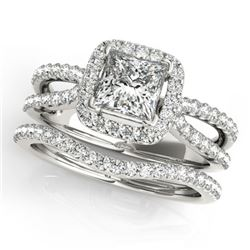 1.02 CTW Certified VS/SI Princess Diamond 2Pc Set Solitaire Halo 14K White Gold - REF-149K5W - 31340