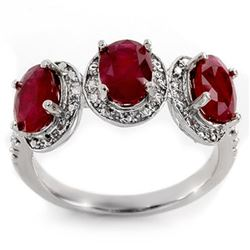 3.08 CTW Ruby & Diamond Ring 10K White Gold - REF-27K3W - 11350