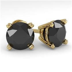 4.0 CTW Black Diamond Stud Designer Earrings 18K Yellow Gold - REF-120M2H - 32326