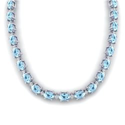37.5 CTW Aquamarine & VS/SI Certified Diamond Eternity Necklace 10K White Gold - REF-425A5X - 29416