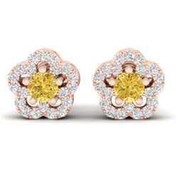0.65 CTW Citrine & Micro Pave VS/SI Diamond Earrings Moon Halo In 10K Rose Gold - REF-33Y5K - 21209