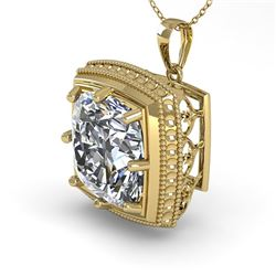 1 CTW VS/SI Cushion Cut Diamond Solitaire Necklace 18K Yellow Gold - REF-332T8M - 36007