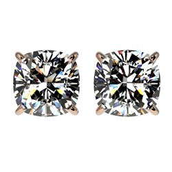 2 CTW Certified VS/SI Quality Cushion Cut Diamond Stud Earrings 10K Rose Gold - REF-585X2T - 33098
