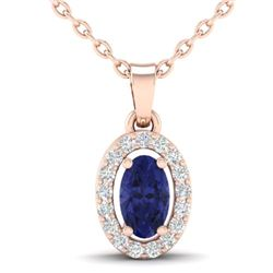 0.36 CTW Tanzanite & Micro Pave VS/SI Diamond Necklace Halo 14K Rose Gold - REF-20K4W - 21329
