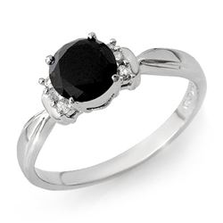 1.10 CTW VS Certified Black & White Diamond Solitaire Ring 14K White Gold - REF-41A5X - 13944