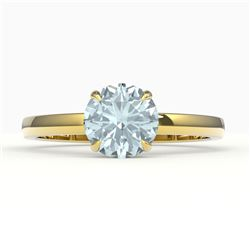 2 CTW Sky Blue Topaz Designer Solitaire Engagement Ring 18K Yellow Gold - REF-36A2X - 22247