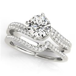 0.89 CTW Certified VS/SI Diamond Bypass Solitaire 2Pc Wedding Set 14K White Gold - REF-132M9H - 3182