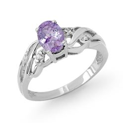0.72 CTW Tanzanite & Diamond Ring 18K White Gold - REF-37W8F - 13682