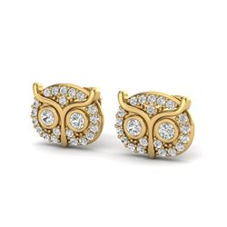 0.35 CTW Micro Pave VS/SI Diamond Earrings 18K Yellow Gold - REF-35H8A - 20091