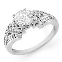 1.42 CTW Certified VS/SI Diamond Ring 14K White Gold - REF-276W9F - 11560