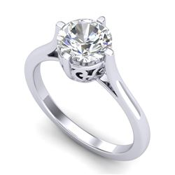 1.25 CTW VS/SI Diamond Solitaire Art Deco Ring 18K White Gold - REF-490M9H - 37226