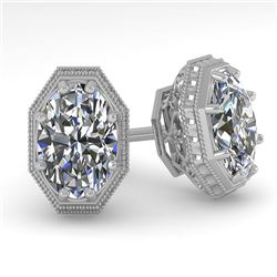1.0 CTW VS/SI Oval Cut Diamond Stud Solitaire Earrings 18K White Gold - REF-169H3A - 35958
