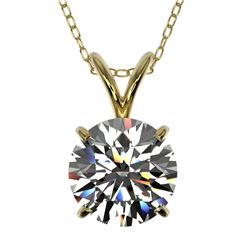1.50 CTW Certified H-SI/I Quality Diamond Solitaire Necklace 10K Yellow Gold - REF-322M5H - 33222