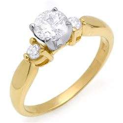 0.75 CTW Certified VS/SI Diamond Solitaire Ring 14K Yellow Gold - REF-119M5H - 11631