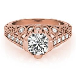 1.25 CTW Certified VS/SI Diamond Solitaire Antique Ring 18K Rose Gold - REF-384M2H - 27313